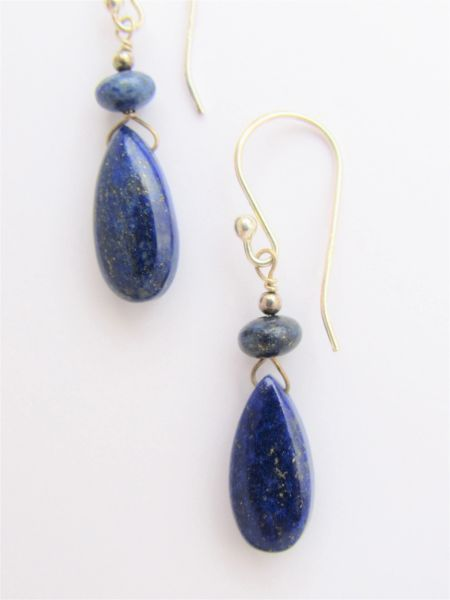 Lapis Lazuli EARRINGS Sterling Silver Handmade Dangle Blue Gemstone Simple Elegant w/ Earwires