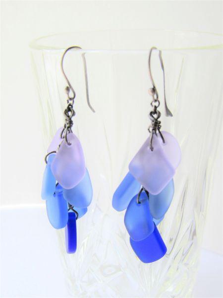 Handmade Cultured Sea Glass EARRINGS Sterling Silver light purple blue ear wires handmade