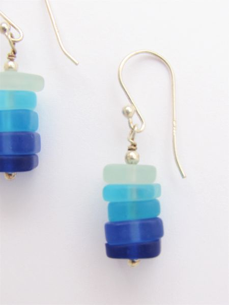 "Cultured Sea Glass EARRINGS Dangle Stacked Shades of Aqua Blue Cobalt 1 3/8"" handmade dangle with ear wires"
