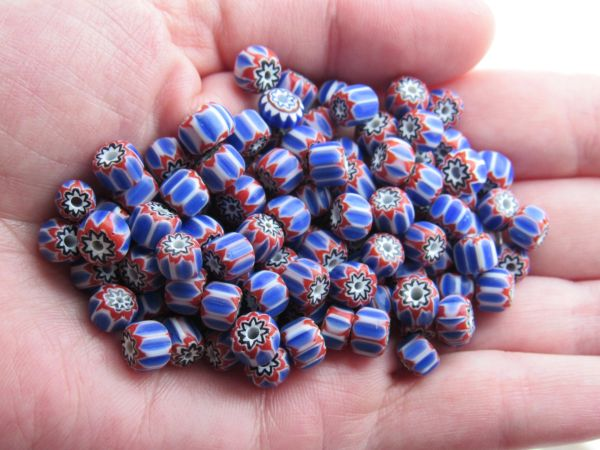 Glass CHEVRONS BEADS 5x6mm Rosetta Star layered glass red white handmade chevron bead for making jewelry