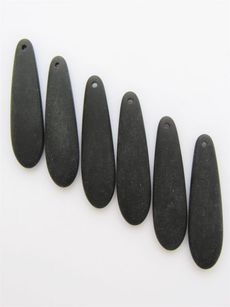 Cultured Sea Glass PENDANTS Opaque BLACK 38x10mm long teardrop frosted top drilled for making jewelry