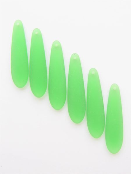 PENDANTS 38x10mm long teardrop Medium GREEN frosted cultured sea glass top drilled bead supply for making jewelry