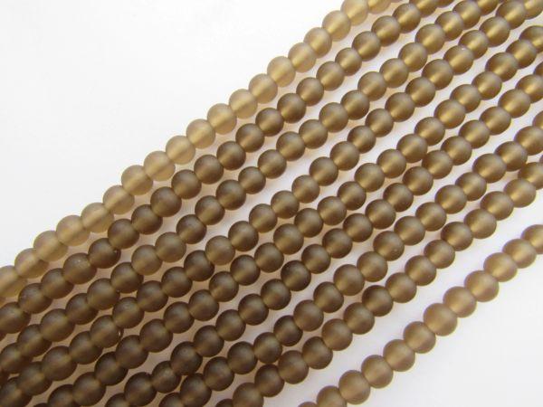 Bead Supply Cultured Sea Glass BEADS 4mm Round Smokey Quartz GRAY matte finish glass for making jewelry