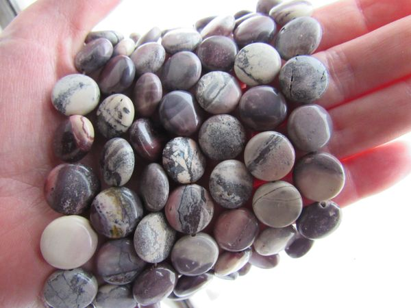 Porcelain Jasper BEADS Bead SUPPLY 14mm Puffed Coin multicolor gemstone strand for making jewelry