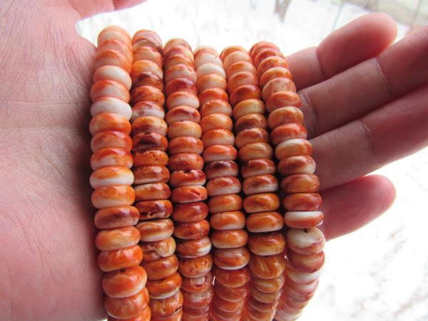 10mm Spiny Oyster SHELL BEADS Rondelles Natural Orange Genuine from Sea of Cortez quality bead supply making jewelry