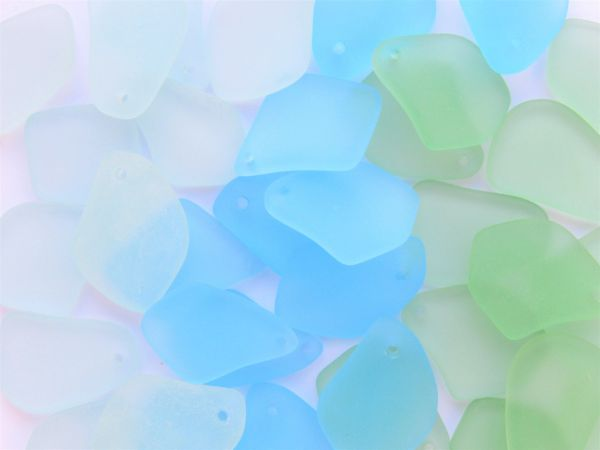"""Cultured SEA GLASS 1"""" PENDANTS Assorted Light Blue Green drilled frosted free form matte finish bead supply for making jewelry"""