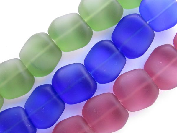 Bead Supply Cultured Sea Glass BEADS 18x17mm Square Nugget Bold assorted for making jewelry