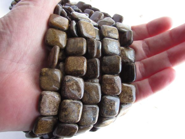 Bronzite BEADS 15mm square natural brown gemstone bead supply for making jewelry