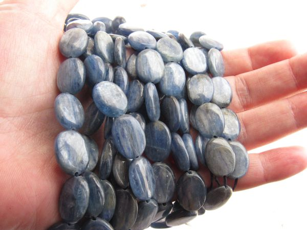Blue KYANITE BEADS 16x12mm Oval Natural Gemstone strand bead supply for making jewelry