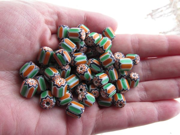 Handmade Glass Chevron BEADS 8x9mm Rosetta Star Green Orange layered glass beads for making jewelry