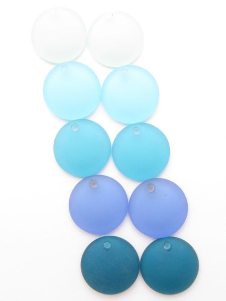 bead supply Cultured Sea Glass PENDANTS 25mm Coin Lighter BLUE Concave for making jewelry