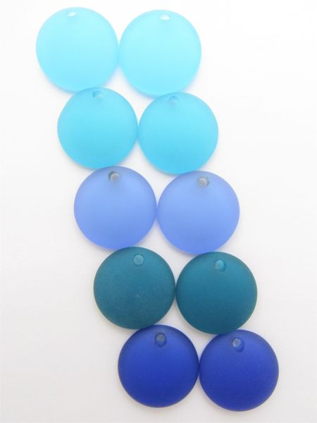 Cultured Sea Glass PENDANTS 25mm Coin Darker BLUE Concave bead supplies for making jewelry