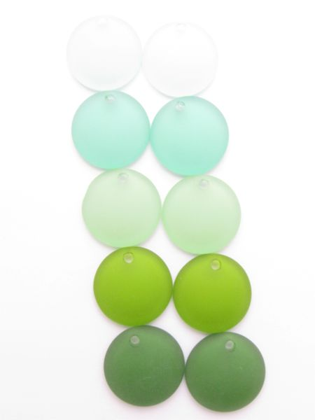 Cultured Sea Glass PENDANTS 25mm Coin GREENS Concave bead supplies for making jewelry
