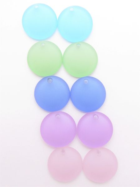 Frosted Glass PENDANTS 25mm Concave Coin ASSORTED bead supplies for making jewelry