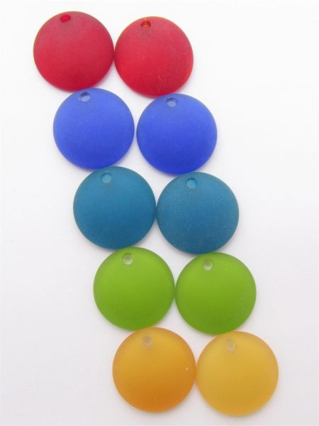 25mm Concave Coin Glass PENDANTS BOLD colors bead supplies for making jewelry