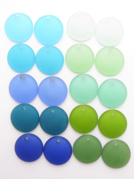 20 pc Cultured SEA GLASS 25mm Concave Coin BLUE GREEN frosted matte finish top drilled pairs for making jewelry