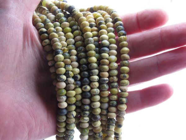 Yellow Turquoise BEADS 6x4mm Rondelles Gemstone beads for making jewelry