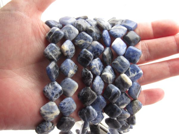 Sodalite BEADS 12mm Square diagonal drilled natural blue Gemstone bead supply for making jewelry