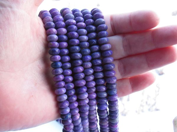 AGATE BEADS 8mm Rondelles Dyed Purple Gemstone quality bead supply making jewelry