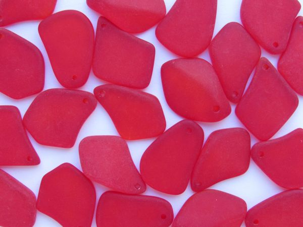 """Red Cultured Sea Glass PENDANTS 1"""" top drilled freeform frosted for making jewelry"""