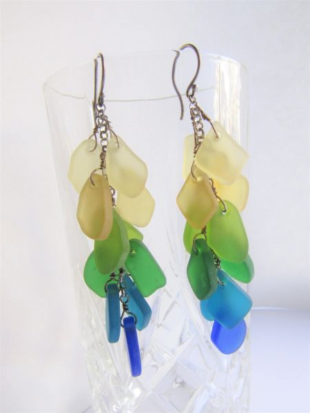 Cultured SEA GLASS EARRINGS Sterling Silver Cascading Yellow Green Teal Blue Handmade with ear wires