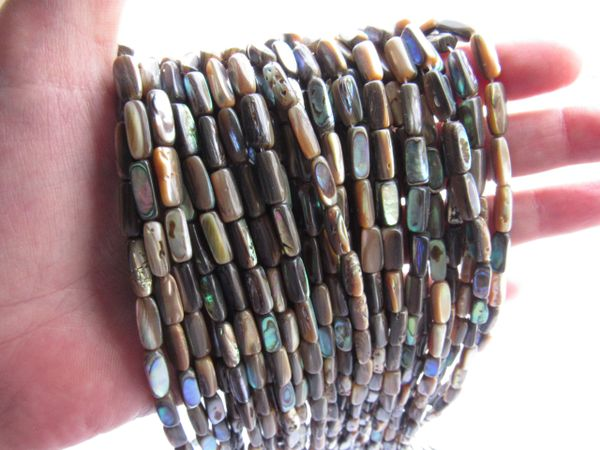 Abalone SHELL BEADS 12x5mm Tube length drilled natural multicolor for making jewelry