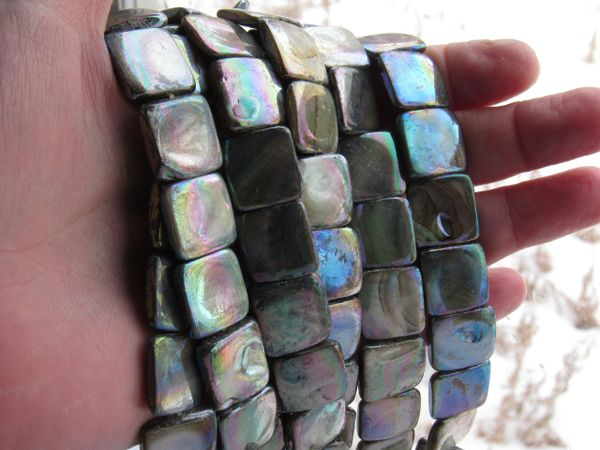 Jewelry making Supplies Pearl Shell BEADS 15mm Square 25 pc Strand Iridescent Luster Multicolor