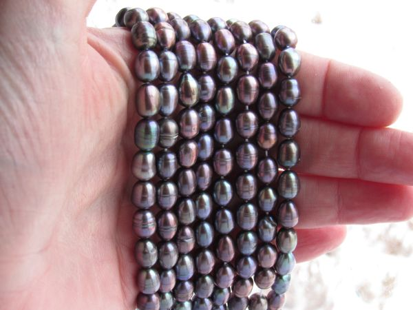 Cultured Freshwater PEARLS strand Silvery Pink 6.5-7mm Rice bead supply for making jewelry 0213-0500