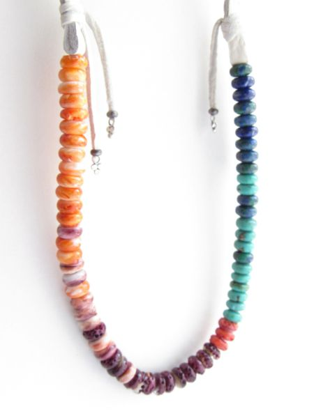 """Spiny Oyster SHELL NECKLACE 25.25"""" Natural Turquoise Blue Purple Orange graduated handmade bead necklace"""
