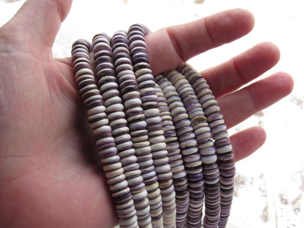 8mm Wampum BEADS Natural Purple Shell Rondelles Genuine Quahog USA rare bead supplies for making jewelry