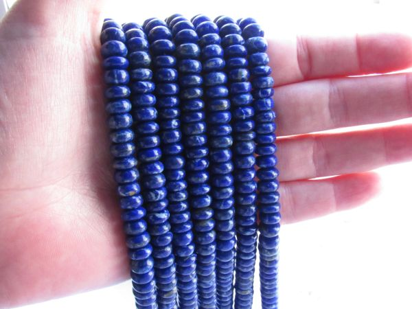 Bead Supplies Natural LAPIS Lazuli BEADS 8mm Rondelles A Grade Gemstone for making quality jewelry