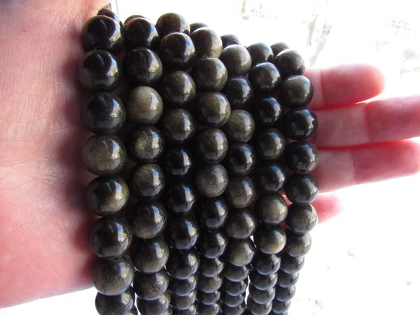 Bead Supplies Golden OBSIDIAN BEADS 12mm Round Natural Gemstone with gold sheen for making jewelry