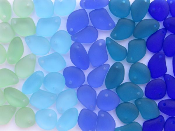 Cultured Sea Glass PENDANTS 15mm frosted free form Pebbles top drilled for making jewelry