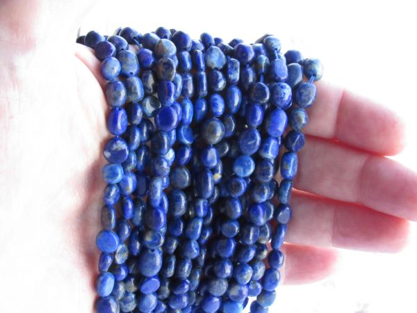 Natural LAPIS Lazuli BEADS 10-6 x 5-4.5mm Freeform Nugget bulk bead strands for making jewelry