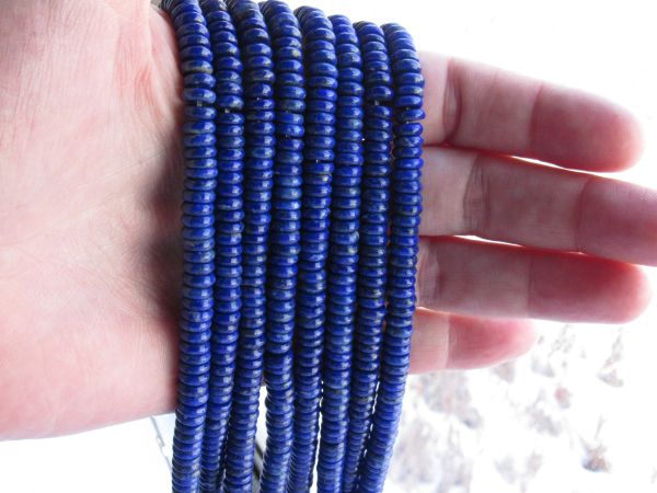 A Grade Lapis Lazuli BEADS 6x2mm Natural Blue Gemstone Undyed bead supply for making jewelry