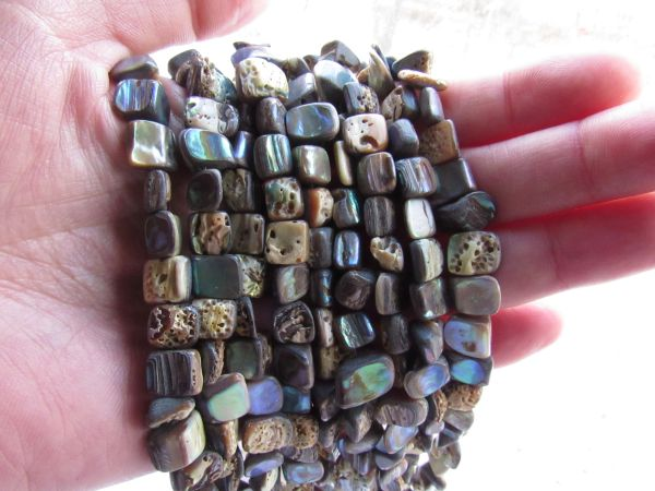 Abalone BEADS free form nugget Shell 7-9x5-10mm Strand bead supply for making jewelry