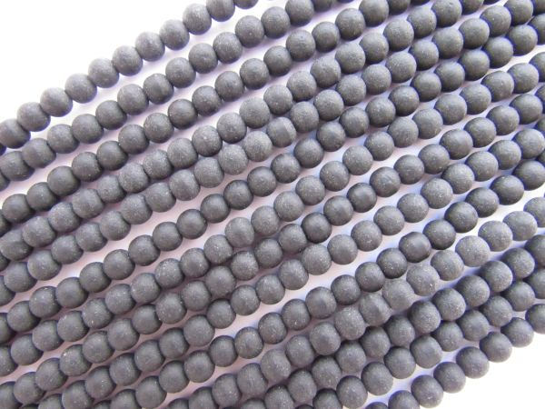 Cultured Sea Glass BEADS 4mm Round OPAQUE BLACK matte finish bead supply for making jewelry