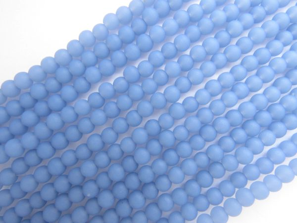 Cultured Sea Glass BEADS 4mm Round OPAQUE SKY BLUE matte finish bead supply for making jewelry