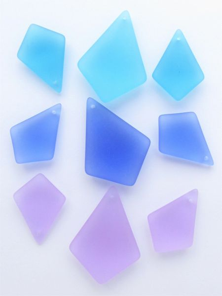 Cultured SEA GLASS PENDANTS Assorted 36x26mm 28x20mm necklace & earrings set bead supply for making jewelry