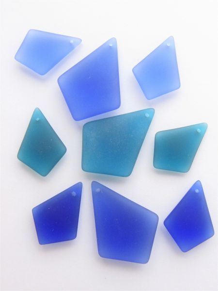 Cultured Sea Glass Pendant 3 pc Sets Large and Pair Assorted 36x26mm 28x20mm bead supply for making jewelry