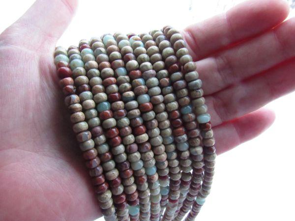 Aqua Terra JASPER BEADS 6mm Rondelle Natural Gemstone 6mm making jewelry unique bead supply