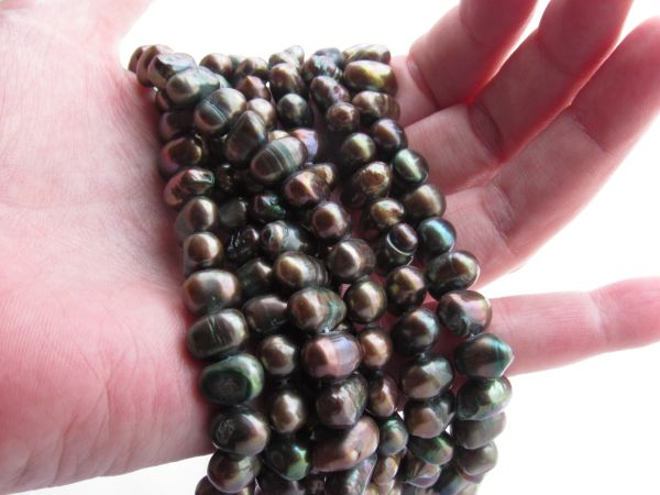 "Cultured Freshwater PEARLS Potato 8 - 7.5 mm 16"" Strand Earth tone bead strand for making jewelry"