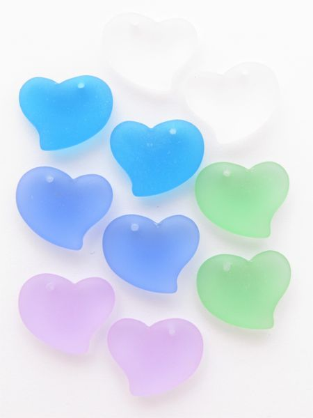 Glass Heart PENDANTS assorted pairs puffed hearts assorted colors drilled for making jewelry