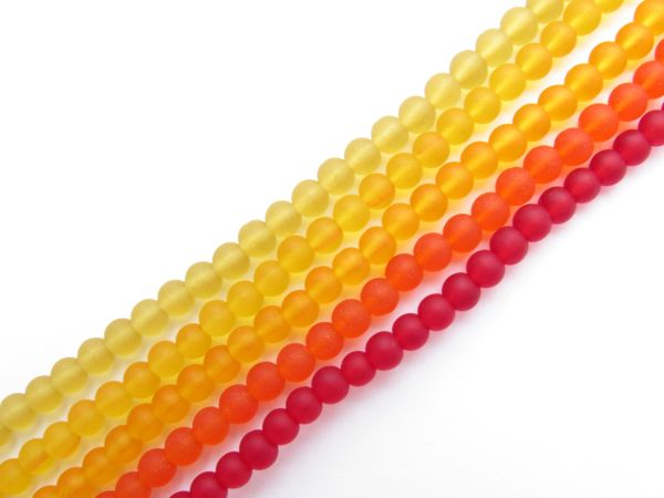 Bead Supplies Cultured Sea Glass BEADS 4mm Round Yellow Orange Red assorted frosted drilled for making jewelry