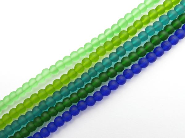 Bead Supplies Cultured Sea Glass BEADS 4mm Round GREEN strands matte finish for making jewelry