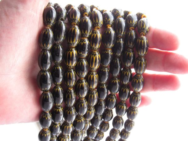 Glass CHEVRON BEADS 15x10mm Black and Yellow handmade layered cane glass bead supply for making jewelry