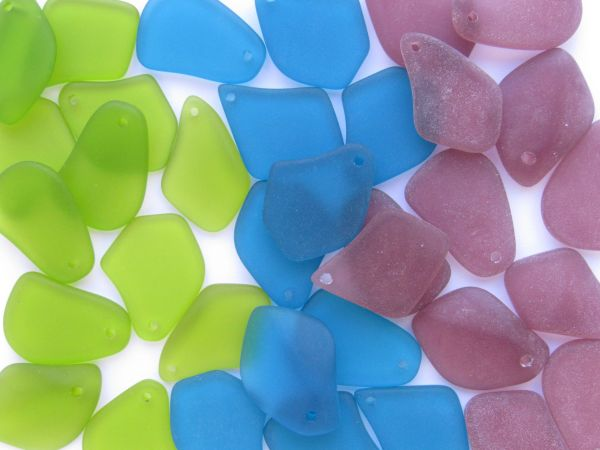 "bead supply Culturd Sea Glass PENDANTS 1"" Assorted Bold colors Top Drilled for making jewelry"