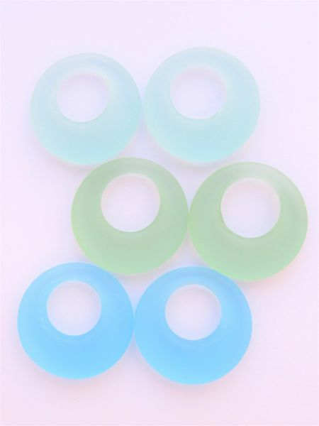 Cultured Sea Glass RING PENDANTS 28mm DONUT RINGS Blue Green assorted Pairs bead supply for making jewelry