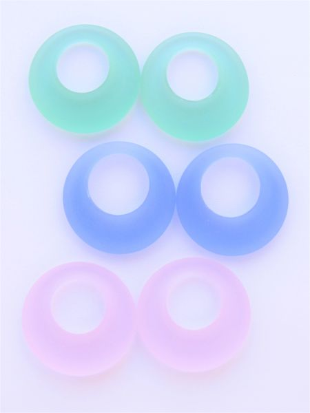 Cultured Sea Glass RING PENDANTS 28mm assorted Pairs bead supply for making jewelry