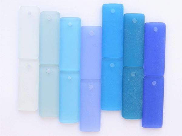 Cultured Sea Glass PENDANTS 35x14mm Rectangle 7 pair Assorted Aqua Blue Top Drilled supply for making jewelry